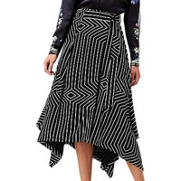 L.K.Bennett X Preen Shelly Graphic Print Asymmetric Skirt, Black