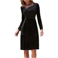 L.K. Bennett X Preen Patti Silk Blend Velvet Dress, Black