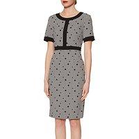 Gina Bacconi Agatha Dogtooth Spot Dress, Black/White