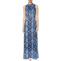 Gina Bacconi Delilah Snake Print Maxi Dress, Blue