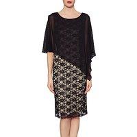 Gina Bacconi Martha Lace Cape Dress, Black/Beige