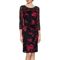 Gina Bacconi Amanda Lace Floral Dress, Black/Pink
