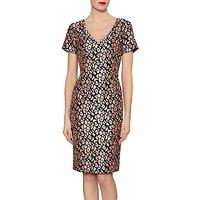 Gina Bacconi Poppy Velvet Jacquard Dress, Dusty Pink