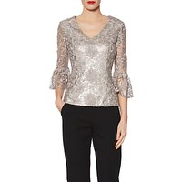 shop for Gina Bacconi Mia Sequin Embroidery V Neck Metallic Top, Taupe at Shopo