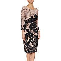 Gina Bacconi Amelia Floral Print Dress, Taupe/Black