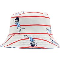 Baby Joule Sea Dog Reversible Sun Hat, White/Red