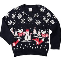 Polarn O. Pyret Baby Christmas Fairisle Jumper, Blue