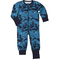 Polarn O. Pyret Baby Forest Animal Sleepsuit, Blue