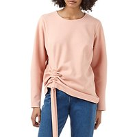 Finery Odessa Ruched Detail Sweat Top, Pink Marl