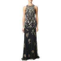 Adrianna Papell Beaded Long Dress, Black/Mercury