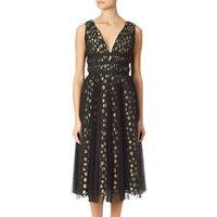 Adrianna Papell Clip Dot Dress, Black/Gold