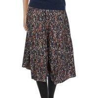 Brora Painterly Floral Print Skirt, Auburn/Coal