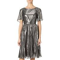 Adrianna Papell Pleated Metallic Foil Dress, Gunmetal/Black