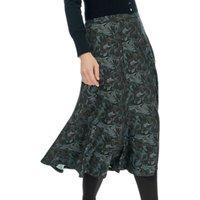 Brora Liberty Print Jersey Skirt, Coal Swirl