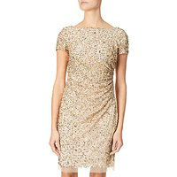Adrianna Papell Short Fully Beaded Dress, Champagne/Gold