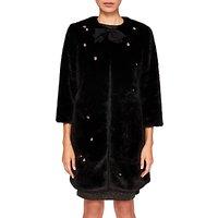 Ted Baker Fabbro Faux Fur Bow Coat, Black