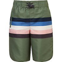 John Lewis & Partners Boys' Stripe Board Shorts, Khaki