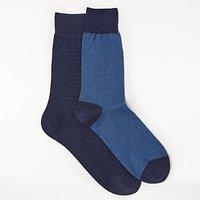 John Lewis Made in Italy Birdseye Fine Stripe Socks  Pack of 2  Navy