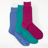 John Lewis Made in Italy Texture Socks, Pack of 3