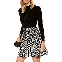 Karen Millen Geometric Print A-Line Dress, Black/White