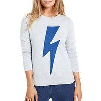 hush Reversible Lightning Bolt Jumper, Grey Marl/Bluebird