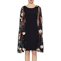 Gina Bacconi Melissa Embroidered Cape Dress, Black