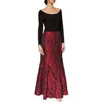 Gina Bacconi Octavia Jacquard Maxi Dress, Red/Black