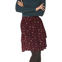 Fat Face Copper & Black Caroline Petal Floral Skirt, Deep Berry