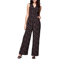 Yumi Ditsy Floral Print Jumpsuit, Black/Multi