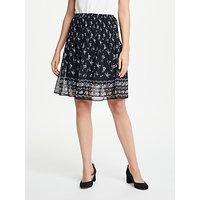 Max Studio Floral Print Pleated Skirt, Black