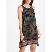 Max Studio Sleeveless Geometric Border Print Dress, Black/Multi