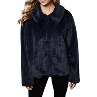 Yumi Faux Fur Stripe Jacket, Dark Navy