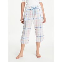 John Lewis Lilian Check Cropped Cotton Pyjama Bottoms, Peach/Blue