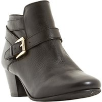 Dune Perda Block Heeled Ankle Boots, Black Leather
