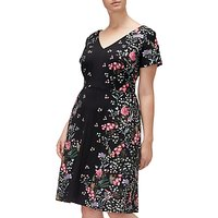 Adrianna Papell Floral Printed Crepe Scuba Plus Dress, Black/Multi
