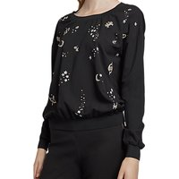 French Connection Zodiac Crepe Light Crew Neck Top, Black