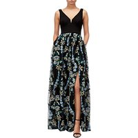 Adrianna Papell Embroidered Tulle Maxi Dress, Black/Multi