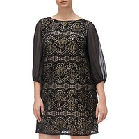 Adrianna Papell Plus Size Scalloped Lace Shift Dress, Black/Champagne