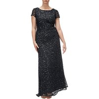 Adrianna Papell Plus Size Scooped Back Long Dress, Black
