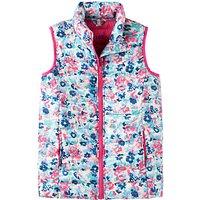 Little Joule Girls' Croft Floral Print Gilet, Pink/Blue