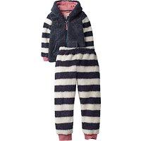 Fat Face Childrens Lemur Fleece Twosie Pyjamas, Blue/White