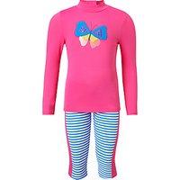 John Lewis & Partners Girls' Butterfly Applique UV Sunpro Set, Pink/Blue