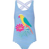 John Lewis Girls' Glittery Parrot Placement Swimsuit, Navy