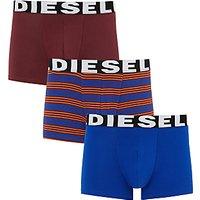 Diesel Shawn Plain Stripe Trunks, Pack of 3, Burgundy/Blue