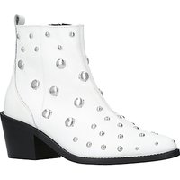 Kurt Geiger Dome Embellished Block Heeled Ankle Boots, White Leather