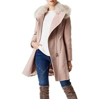 Karen Millen Faux Fur Wrap Coat, Pale Pink