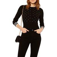 Karen Millen Pearl Embellished Cardigan, Black/Ivory