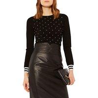 Karen Millen Pearl Embellished Jumper, Black/Ivory