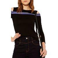 Karen Millen Cold Shoulder Jersey Top, Black/Multi