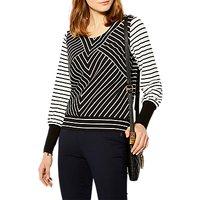 Karen Millen Stripe Panel Jersey Top, Black/White